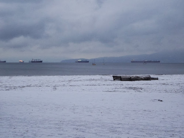 Kitsilano Beach under a layer of snow, and ships in the English Bay