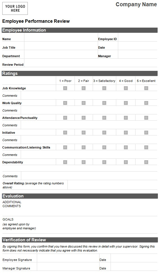Employee Performance Evaluation Form HR Management For – Performance Evaluation Form