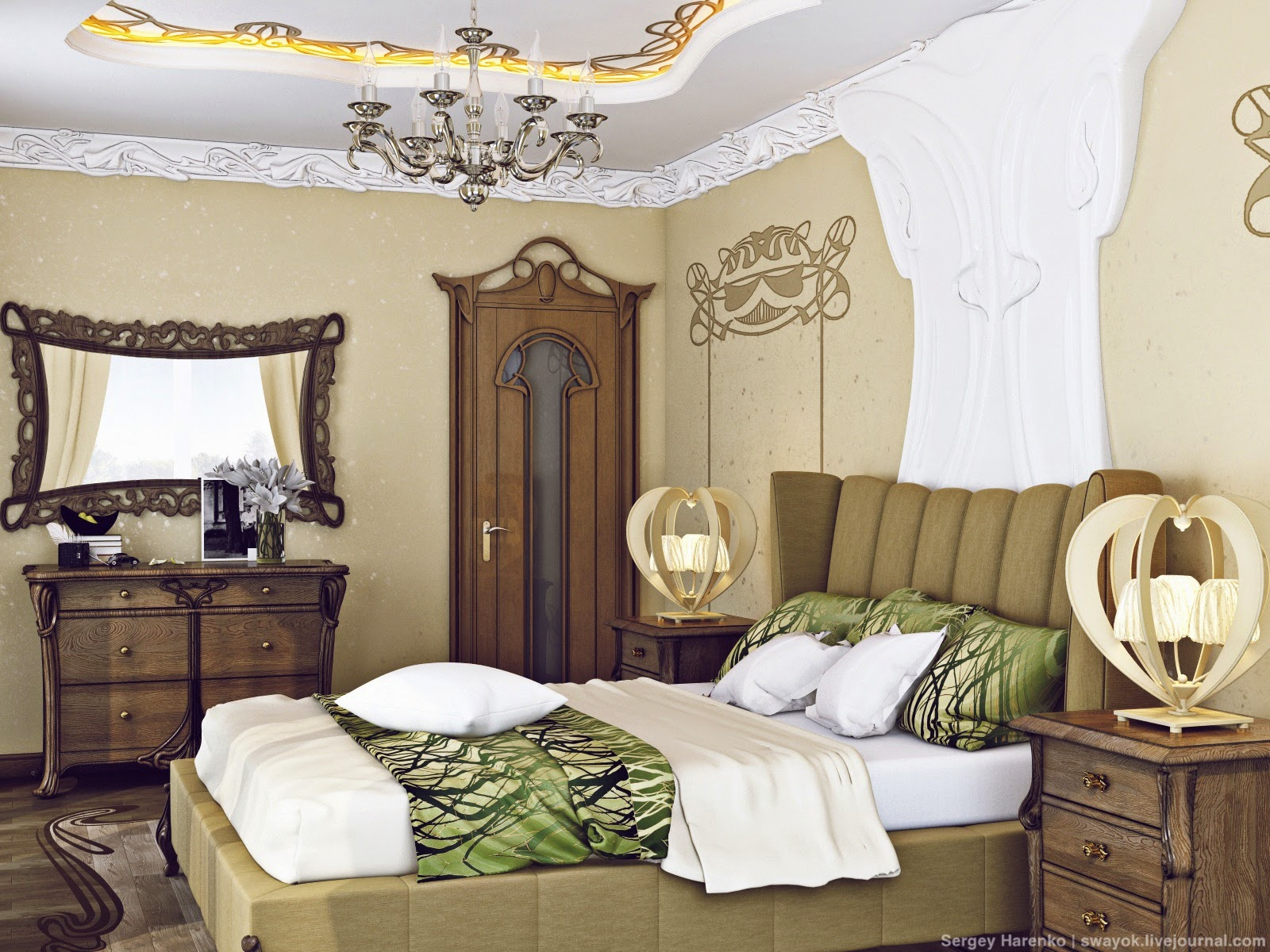 Interior Design Art Nouveau Bedroom Part 3