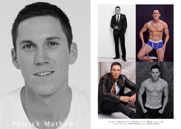 Male model comp card from studio modelling portfolio by Kent Johnson.