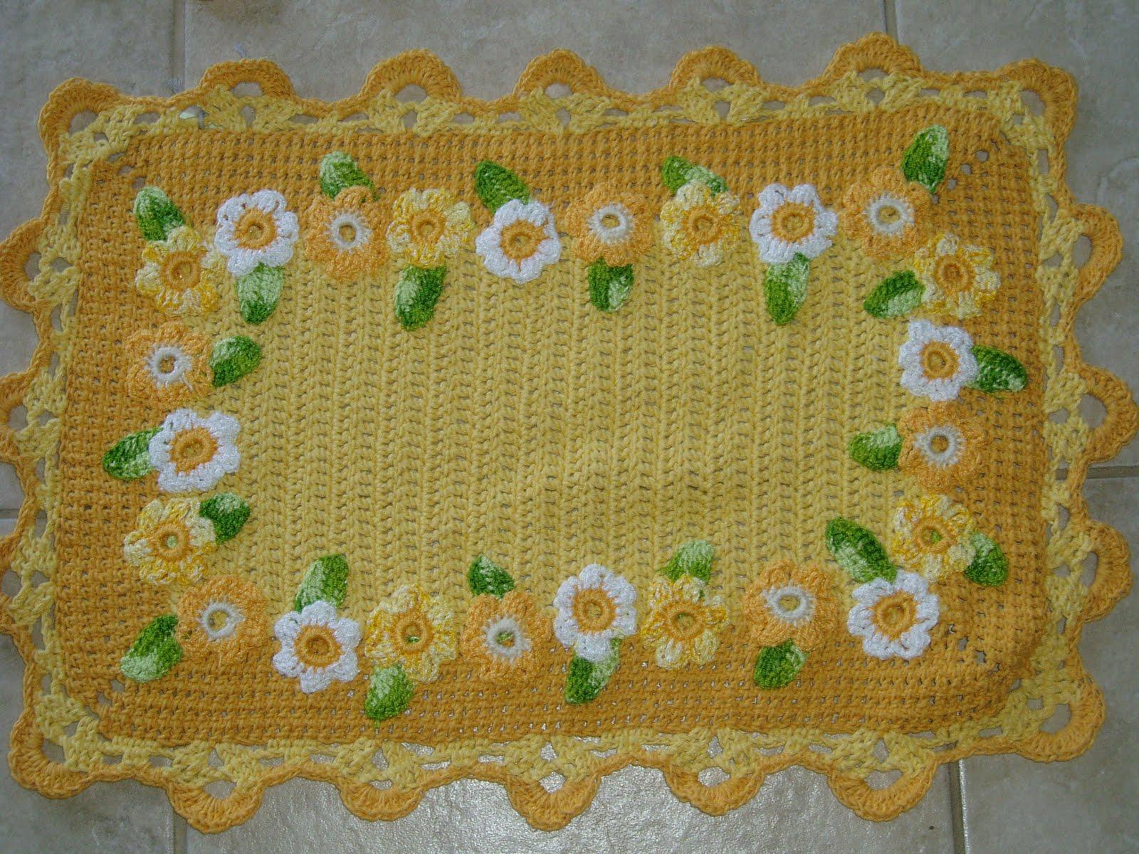 Tecendo Receitas: Jogo de banheiro em croche com margaridas amarelo #416818 1600 1200
