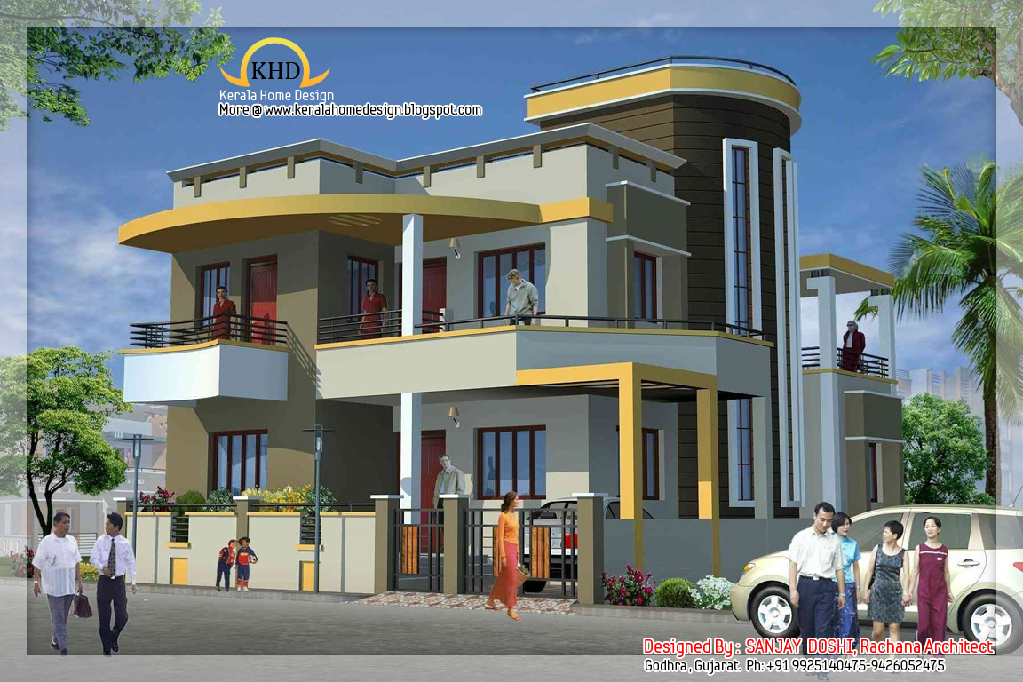 Duplex house plan and elevation keralahousedesigns for Front view of duplex house in india