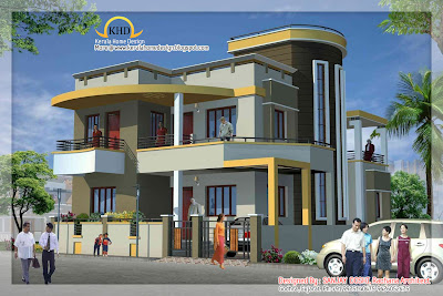 Duplex house elevation kerala home design and floor plans Duplex house plans indian style