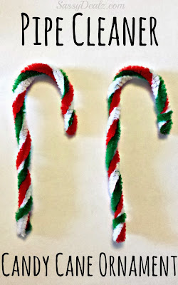 pipe cleaner candy cane christmas ornament craft