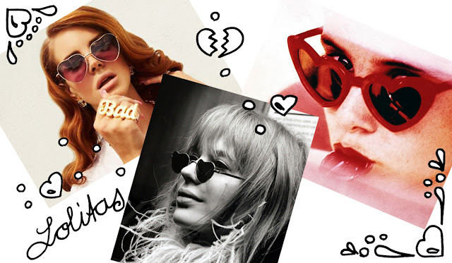 Lana Del Ray, Marianne Faithfull, Sue Lyon, heart shaped glasses