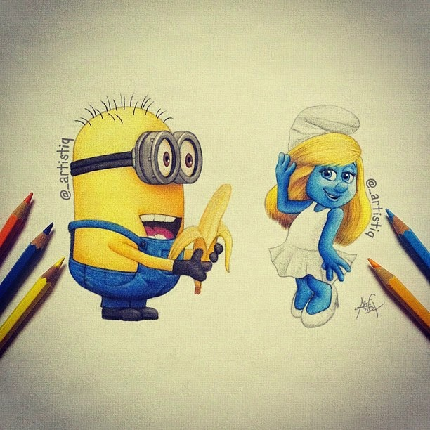 26-Minion-and-Smurfette-Cas-_artistiq-Colored-Celebrity-and-Cartoon-Drawings-www-designstack-co