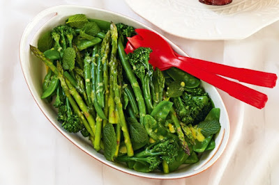 Steamed greens with tarragon mustard dressing Recipe