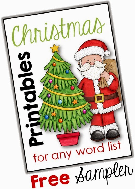 Christmas Printables for any Word List freebie
