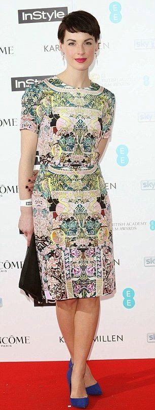 Jessica Raine wears a unique pattern dress for BAFTA party at London's Ace Hotel in London on Monday, February 2, 2015