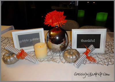 Thanksgiving table with glitter pumpkins