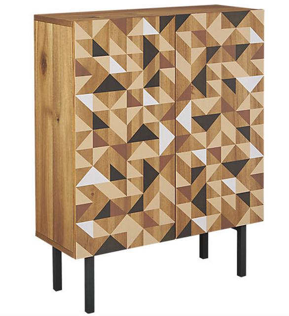 CB2 triad geometric print cabinet