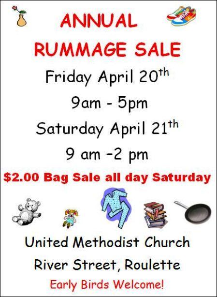 4-20/21 Rummage Sale, Riverside UMC, Roulette