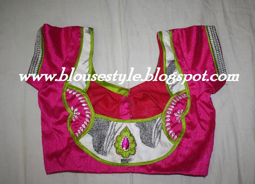 pink colour designer blouse