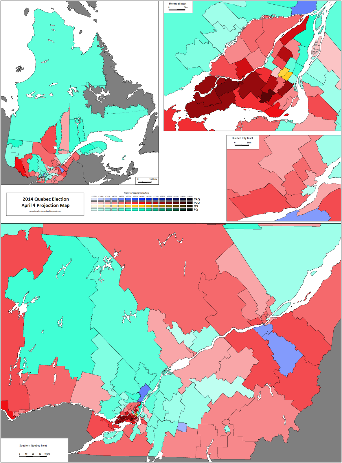 2014 Quebec Provincial Election Week 5 Projection