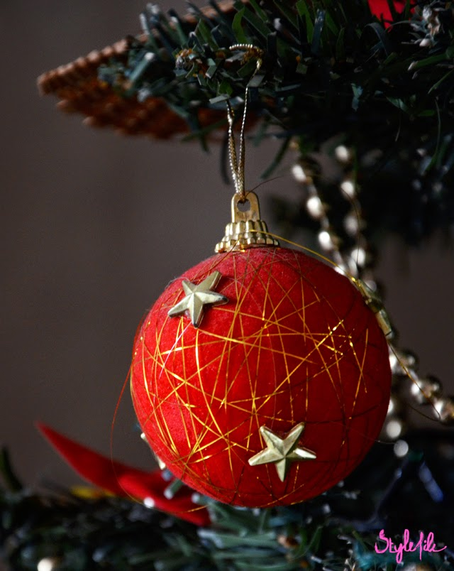 christmas, ornament, bauble, red, gold, decor, lifestyle, style file india