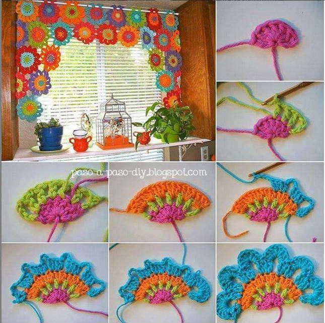 Cómo tejer un aplique crochet abanico o media flor