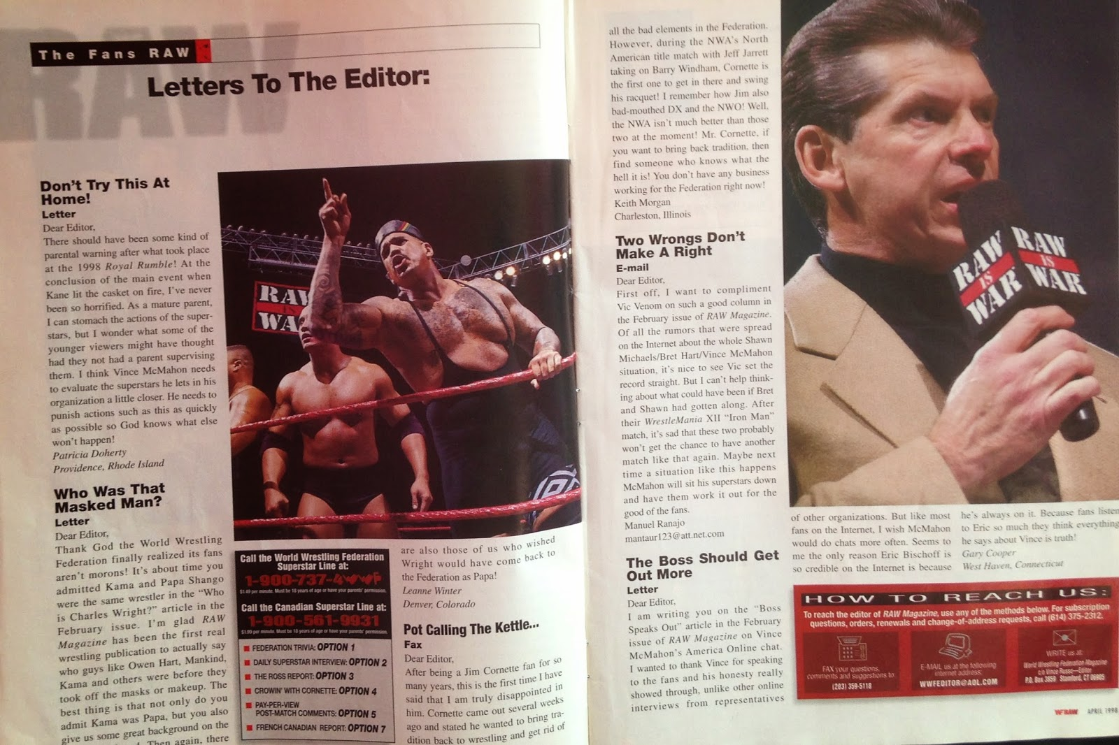 WWE - WWF Raw Magazine - April 1998 -   Letters to the Editor