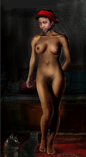 Female Nude digital fine art, Standing - digital sketch.