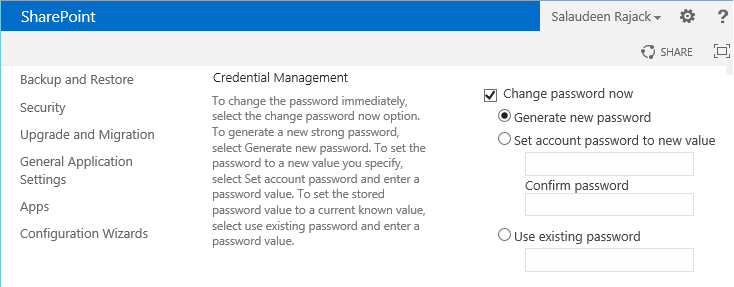 Change Managed Account Password in SharePoint 2013