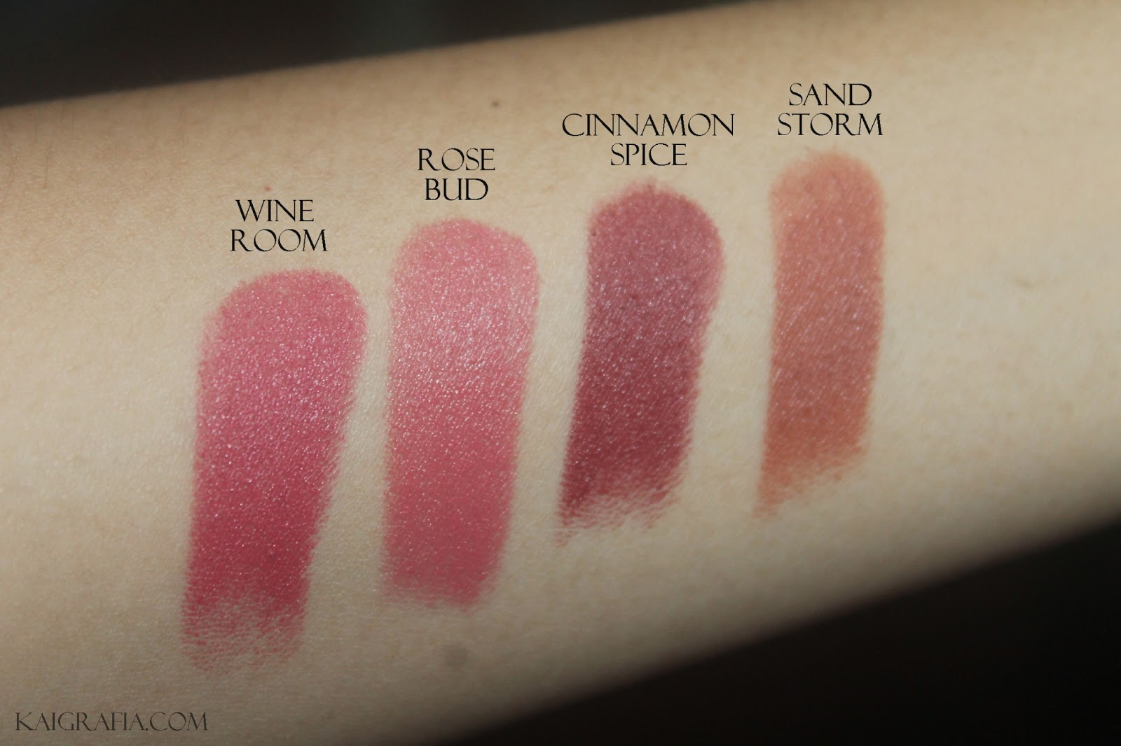 swatches of wet n wild matte lipstick with flash