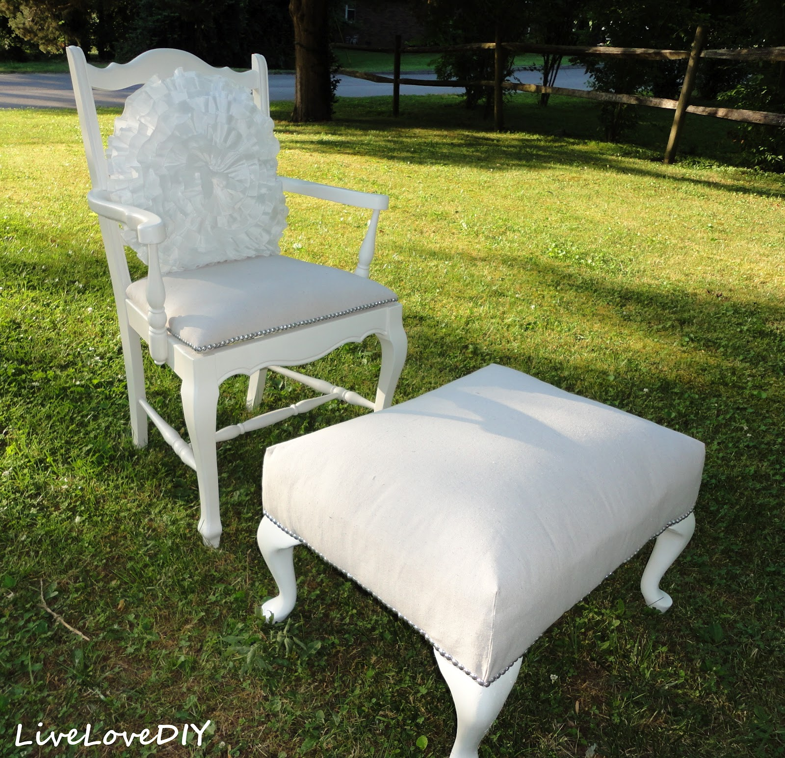 LiveLoveDIY Reupholster a Chair with a Drop Cloth