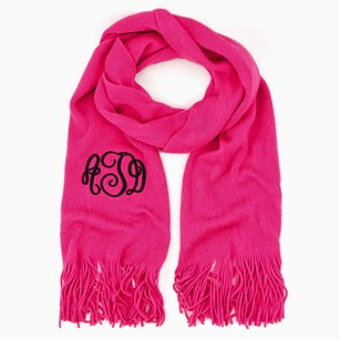 Bright Pink Monogram Cashmere Feel Fringe Scarf from emilyrosejewellery