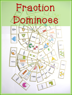 Fraction Dominoes matching card game for equivalent fractions
