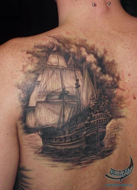 Full-back tattoo: a medieval ship