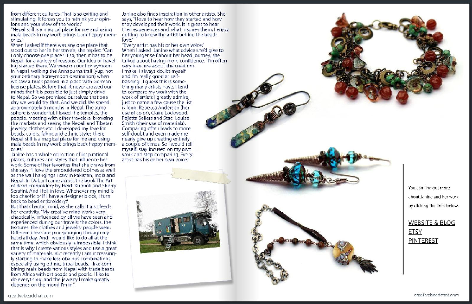 Bead Chat article:  Share Janice Lucas' journeys, written by Cynthia Machata
