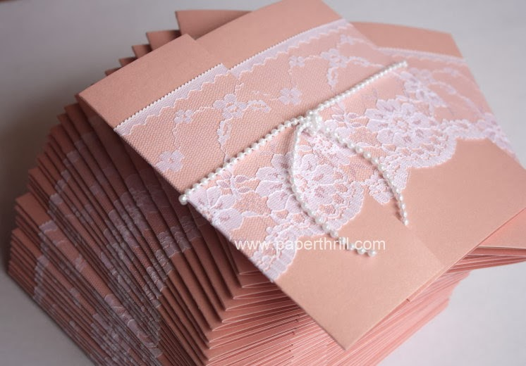 pearl lace wedding invitation card