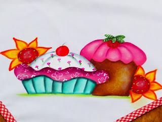 pintura cupcakes e flores
