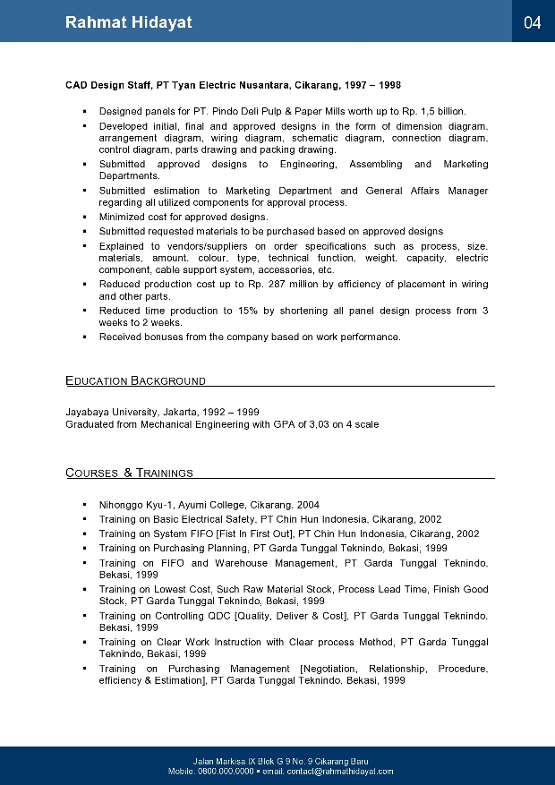 2 page resume footer