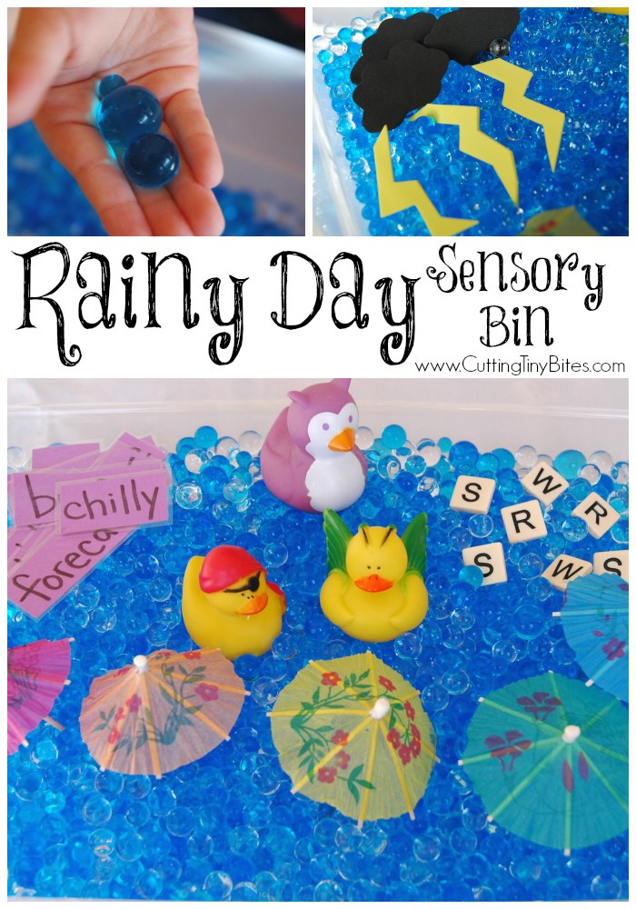 Rainy Day Sensory Bin- water bead play for kids for a preschool weather theme.
