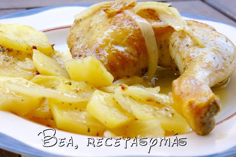 Pollo al lim n con patatas panadera recetas de cocina - Pollo al horno con limon y patatas ...