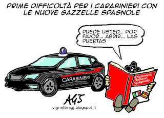 Carabinieri, gazzelle, seat, umorismo, vignetta