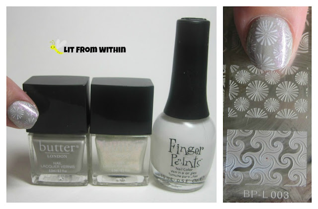 Bottle shot:  Butter London Vapour, Butter London Glad Rags, Finger Paints Paper Mache, and the stamp from BP-L003.