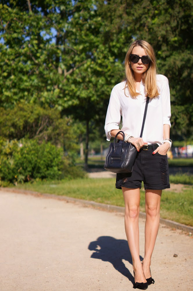 Equipment, mango, shorts, isabel marant, heels, blonde, streetstyle, paris, parisienne, outfit