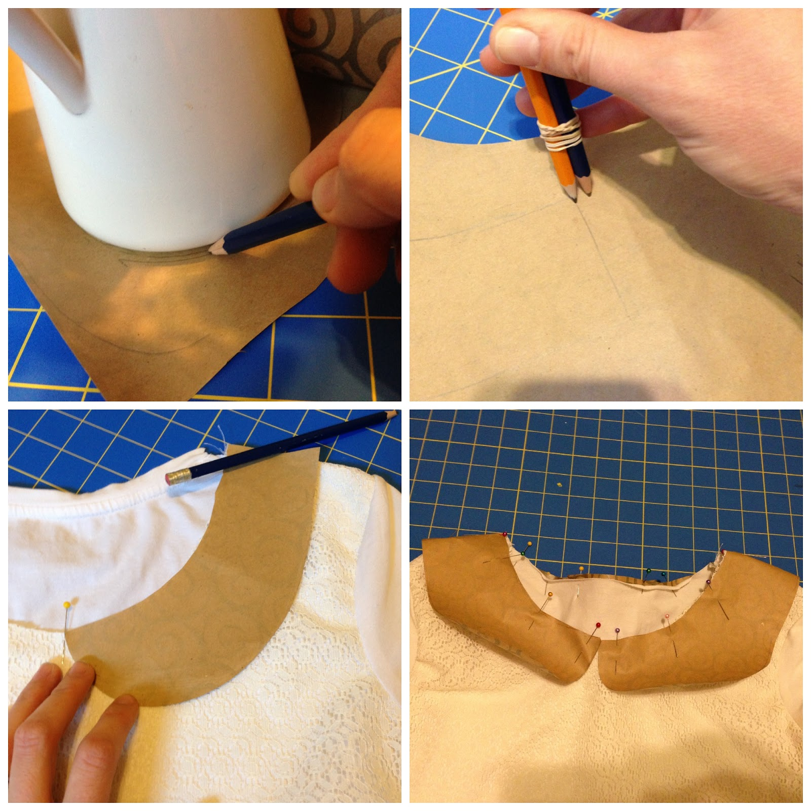 Diy plain white tee shirt refashion lace front with a for Peter pan shirt pattern
