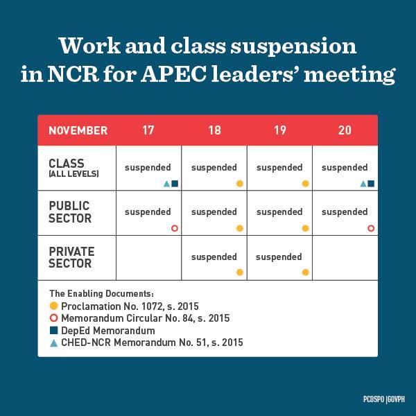 APEC Summit walang pasok