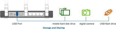 TP LINK TL-WR1043ND, Penyimpanan USB Port - Server Portabel