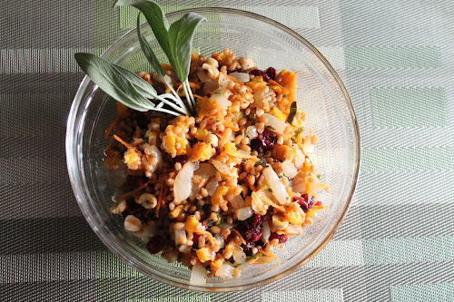 Wheat Berry Salad with Butternut Squash, Hazelnuts and Sage