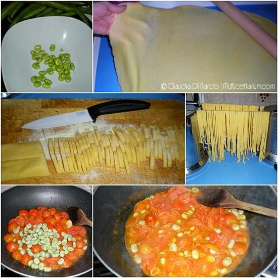 Fettuccine con fave e pomodorini