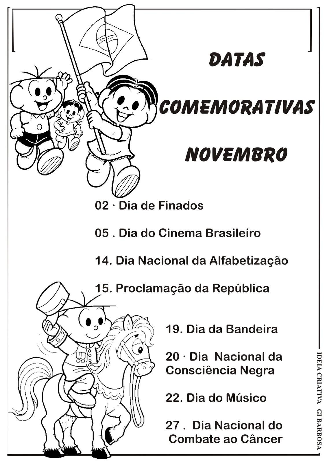 Muitas vezes Datas Comemorativas Novembro Ilustração Turma da Mônica | Ideia  HV09