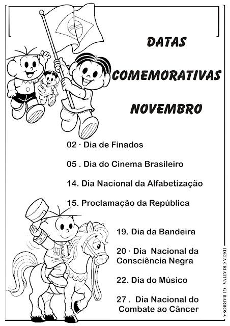 Datas Comemorativas Novembro Ilustração Turma da Mônica