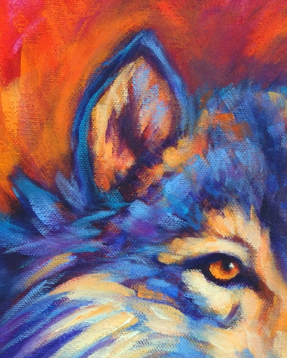 Wildlife Art of the West: Expressive Vibrantly Colorful ... Colorful Wolf Painting