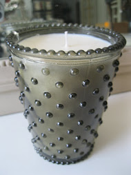 """Meringue"" Hobnail Glass Candle"