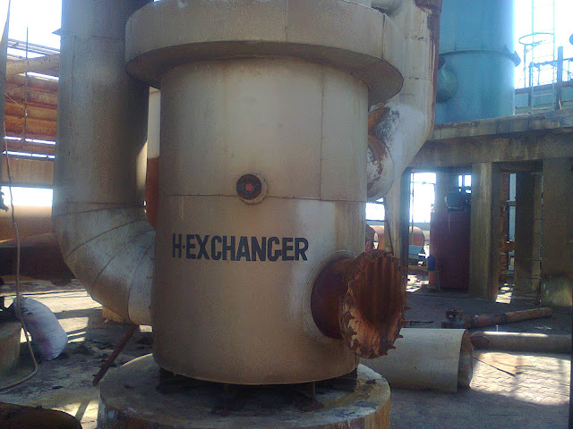 heat exchanger , Sulfuric Acid Plant in Pakistan 100 Metric ton daily production by contact process single absorption, image by irfan ahmad plant operator