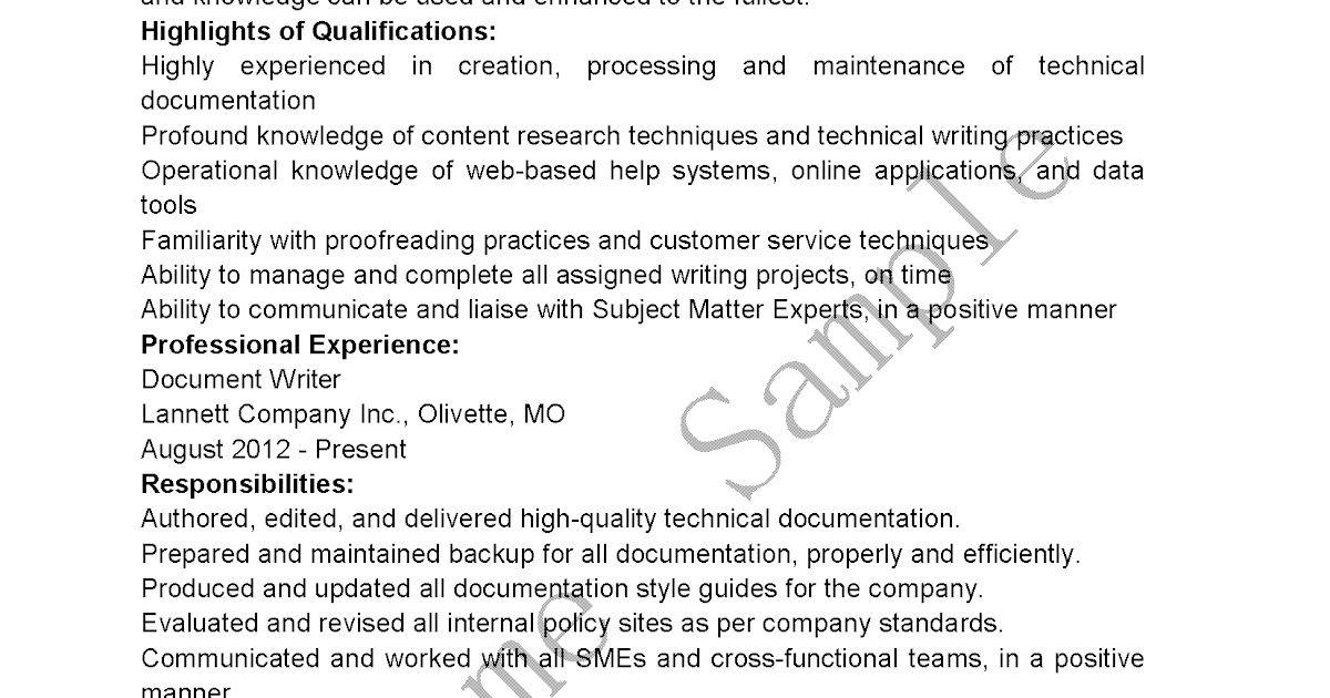 Writer Resume. Experienced Technical Writer Resume Technical