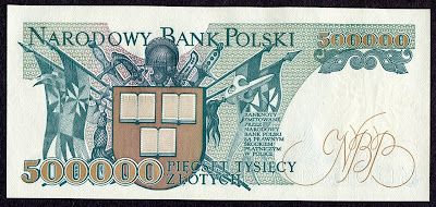 Poland money currency banknotes 500000 Zloty note Zlotych
