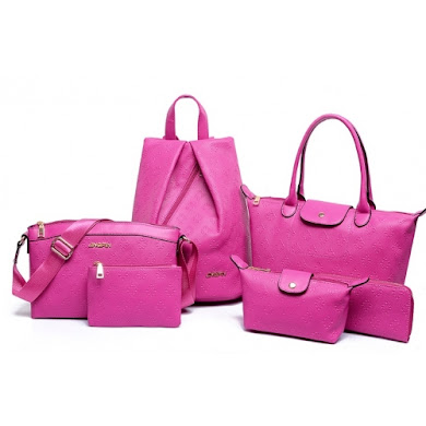 AA FASHION BAG ( 6 IN 1 SET) (ROSE RED)